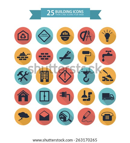 Round flat building icons for web.  illustration - stock photo