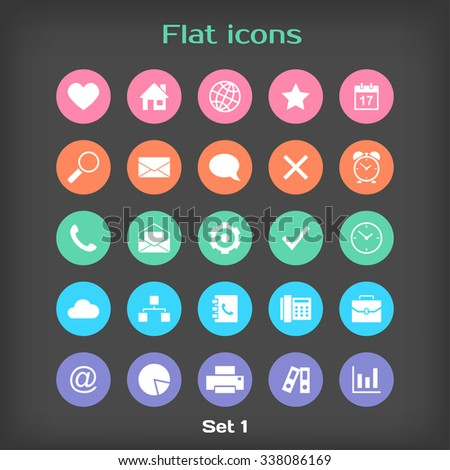Round Flat Icon Set 1 in Color Variation - stock photo
