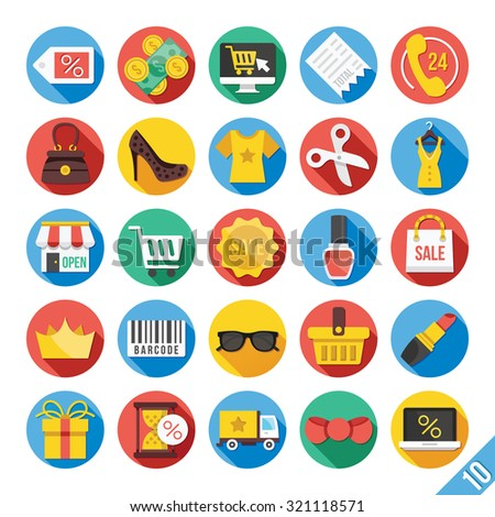 Round flat icons set with long shadow for web and mobile apps. Colorful modern design illustrations, objects, ecommerce icons, clothes icons, trading, marketing, shopping icons, business icons. Set 10 - stock photo