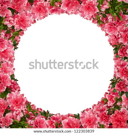 Round floral frame with azalea flowers against white. - stock photo