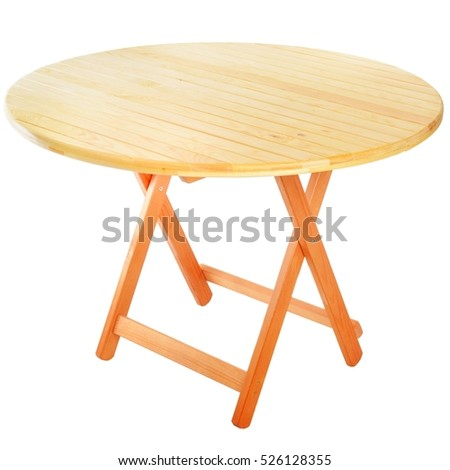 Round folding wooden table for outdoor recreation.