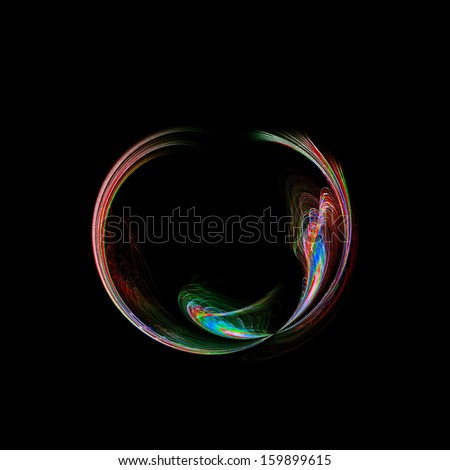 Round fractal on black with vibrant colors red and green. Seamless square background