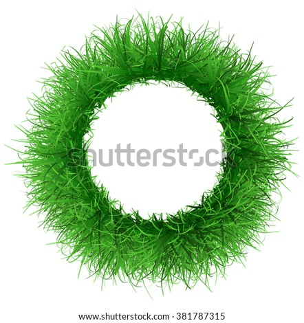 Round frame from the lush green grass - stock photo