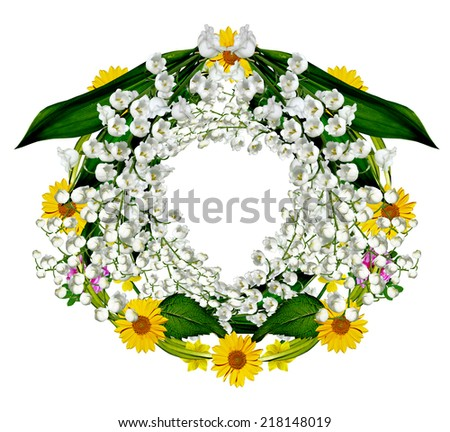 round frame of flowers - stock photo