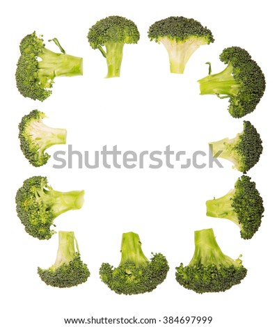 Round frame of fresh broccoli isolated on white background. - stock photo