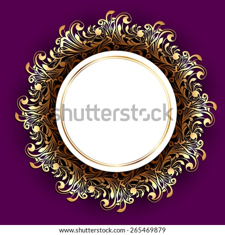 Round Frame Over Floral Decorative Background, Copyspace - stock photo