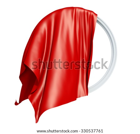 round frame with a red drapery silk, waving in the wind, on a white background. - stock photo
