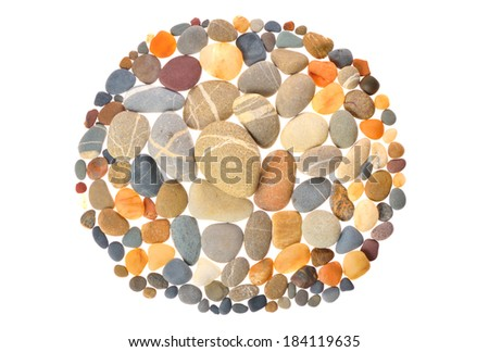 Round frame with  natural stones on white background - stock photo