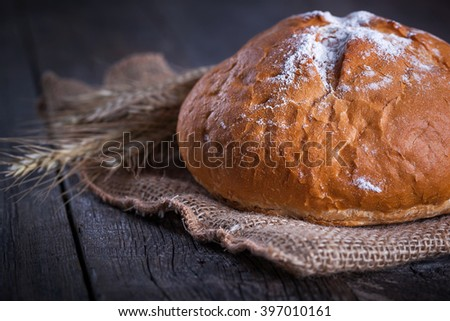 Round freshly baked homemade bread on burlap bag with ears of barley on rustic wooden background