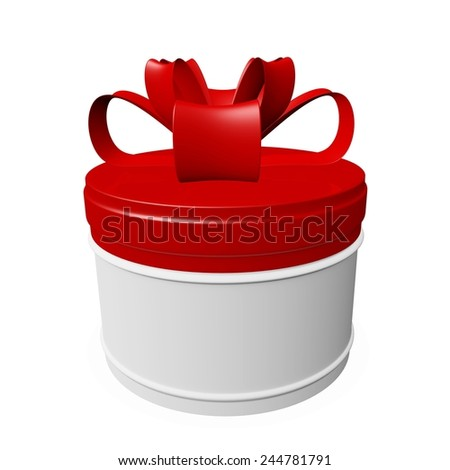 Round Gift Box with Red Lid and Bow Ribbon - stock photo