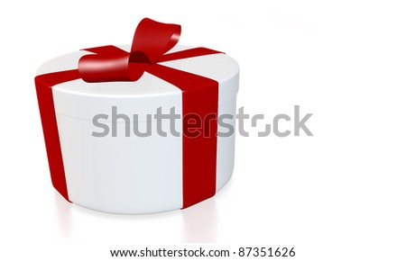 round gift box wrapped with red ribbon on white background - 3D rendering with path - stock photo