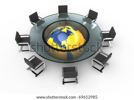 Round glass conference room with orange globe. Isolated on white. - stock photo