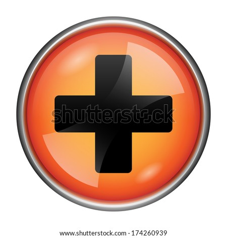 Round glossy icon with black design on orange background - stock photo
