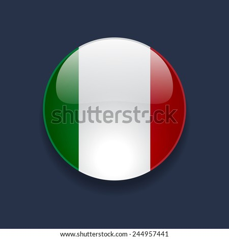 Round glossy icon with national flag of Italy on dark blue background - stock photo