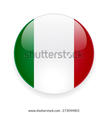 Round glossy icon with national flag of Italy on white background - stock photo