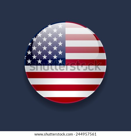 Round glossy icon with national flag of the USA on dark blue background - stock photo
