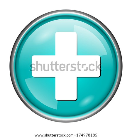 Round glossy icon with white design on aqua background - stock photo