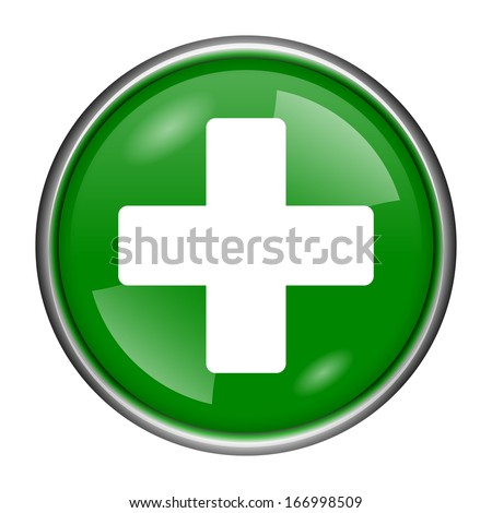 Round glossy icon with white design on green background - stock photo