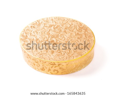 round golden box isolated on white background - stock photo