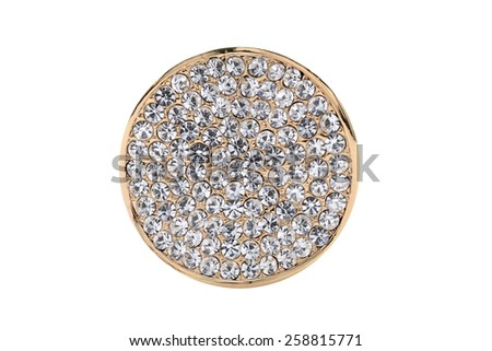 Round golden brooch with diamonds on a white background - stock photo