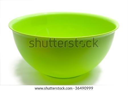 Round green bowl, isolated on white - stock photo