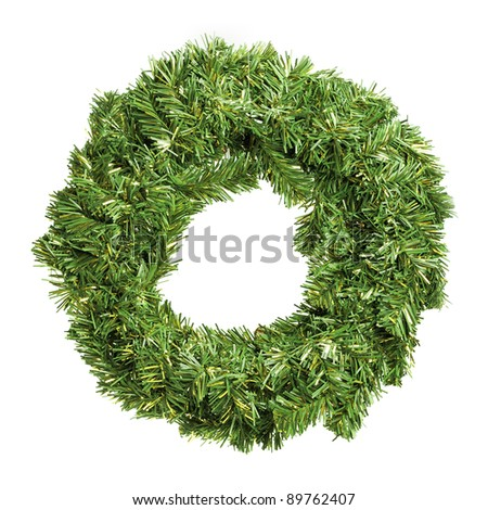 Round green christmas wreath isolated over white - stock photo
