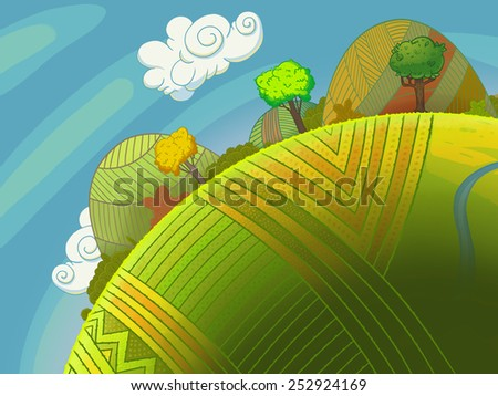 Round green hills with trees and sky with clouds. Cartoon stylish background raster illustration. - stock photo