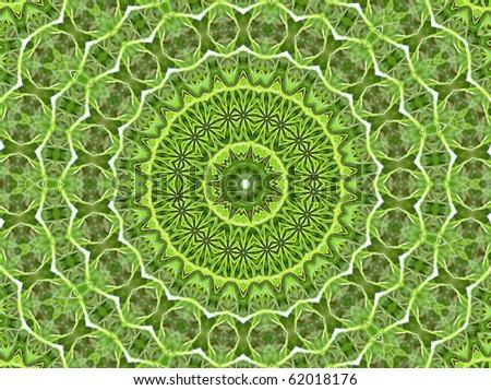 Round Green Mandala - stock photo
