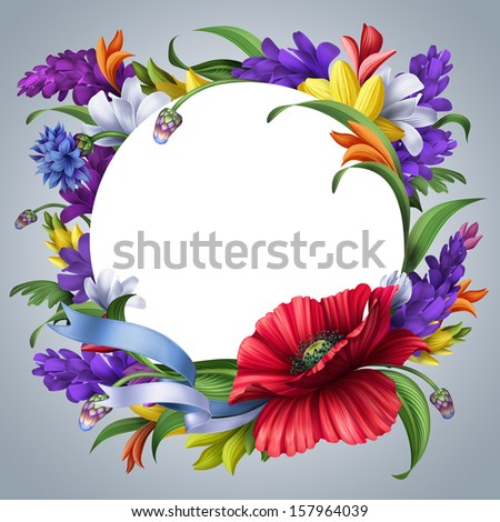 round greeting card with floral frame, blank space for adding text, mix flowers illustration - stock photo