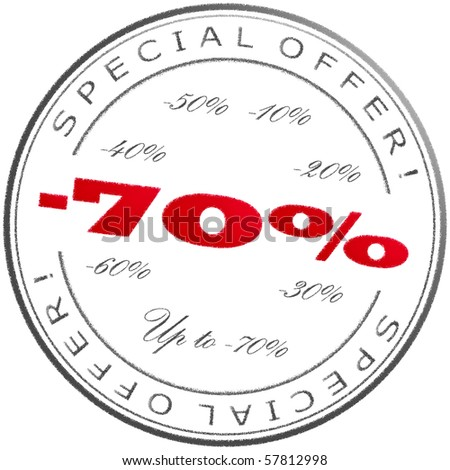 Round grey-red discount stamp - stock photo