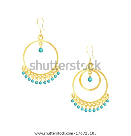 Round handmade earrings isolated on white background