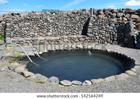 Round hot springs in Iceland - stock photo