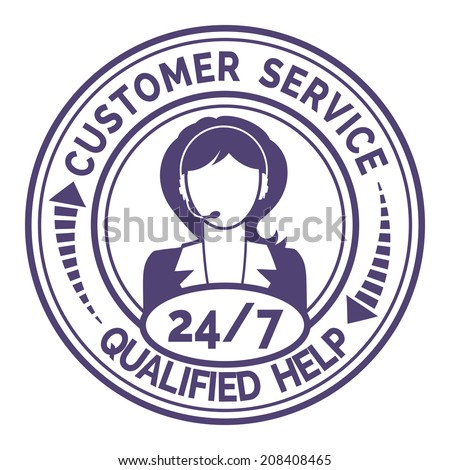 Round icon for non stop customer service with a professional female support operator providing through headset live qualified help and useful information  on white - stock photo