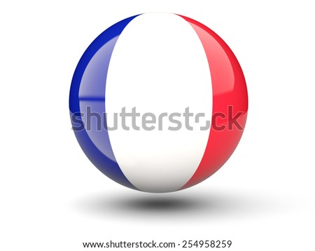 Round icon of flag of france isolated on white - stock photo