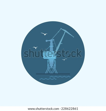 Round icon with colored cargo crane and seagulls in dock - stock photo