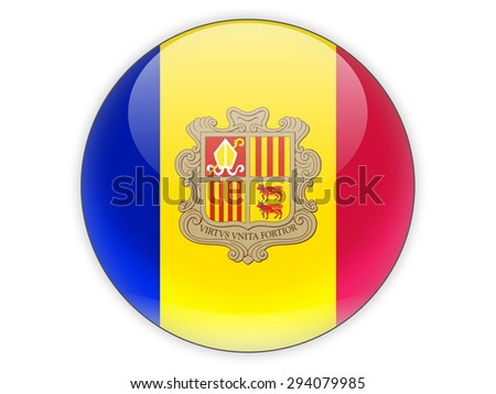 Round icon with flag of andorra isolated on white - stock photo