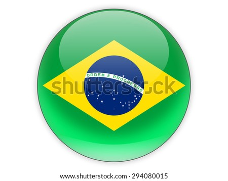 Round icon with flag of brazil isolated on white - stock photo