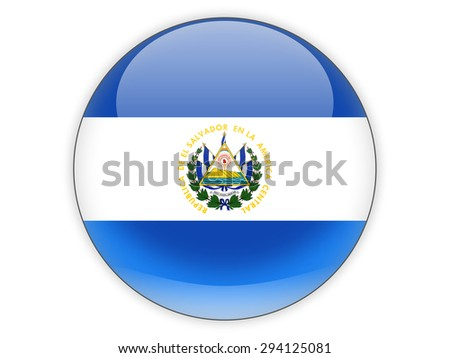 Round icon with flag of el salvador isolated on white - stock photo