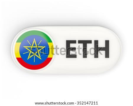 Round icon with flag of ethiopia and ISO code - stock photo