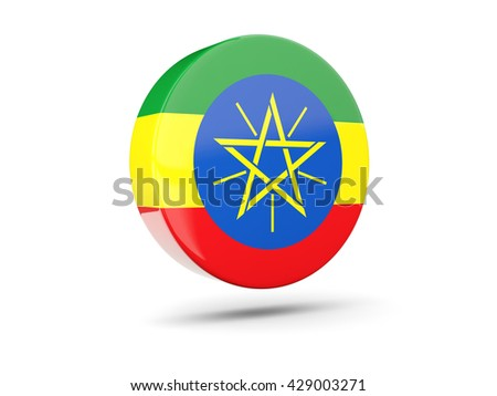 Round icon with flag of ethiopia. 3D illustration