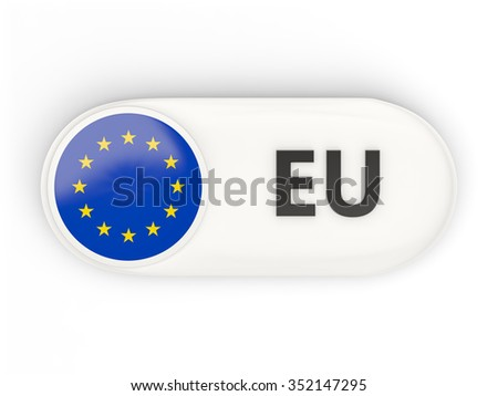 Round icon with flag of european union and ISO code - stock photo