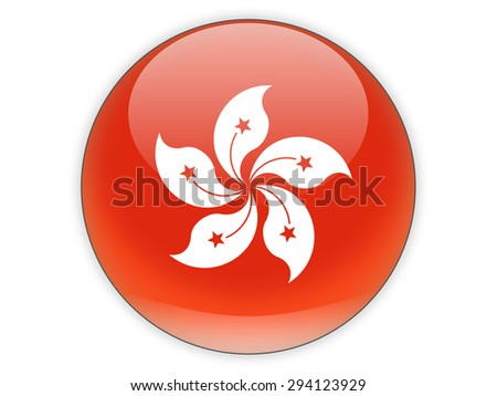 Round icon with flag of hong kong isolated on white