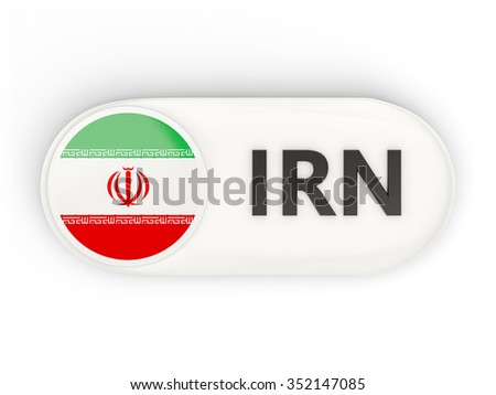 Round icon with flag of iran and ISO code - stock photo