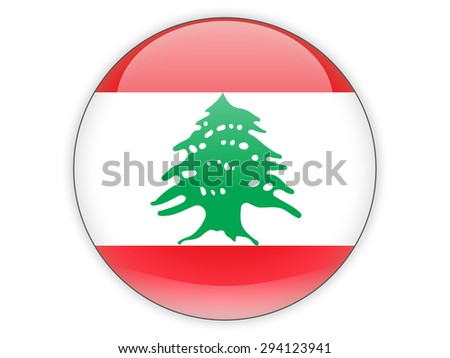 Round icon with flag of lebanon isolated on white