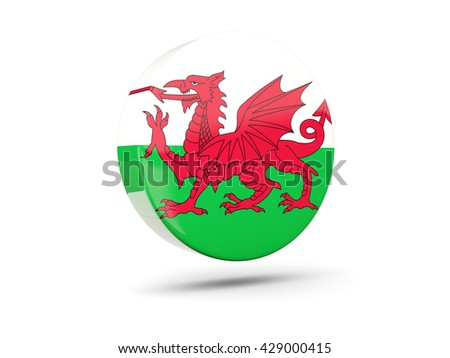 Round icon with flag of wales. 3D illustration - stock photo