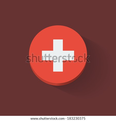 Round icon with national flag of Switzerland. Flat design. Raster illustration. - stock photo