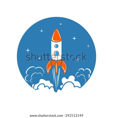 Round icon with rocket launch and stars, illustration. - stock photo