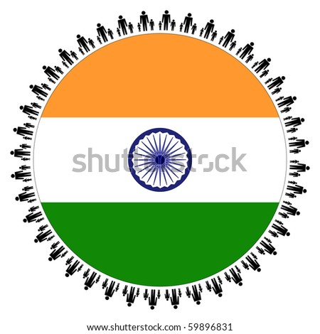 Round Indian flag with circle of families illustration JPEG