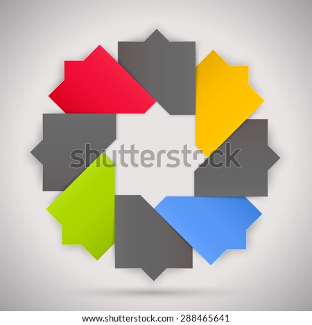 Round Islamic arabesque paper shape