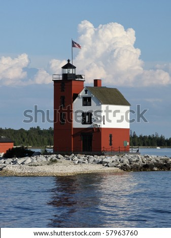 Round Island Light, located in the Mackinac Straights near Mackinac Island, Michigan. - stock photo